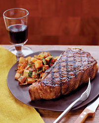 Grilled Strip Steaks with Sweet Potato Hash Browns