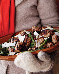 Grilled Meatballs with Scallion and Shaved Cheese Salad