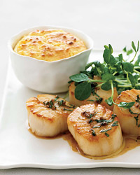 Seared Scallops with Basil, Anchovy and Sweet Corn Pudding