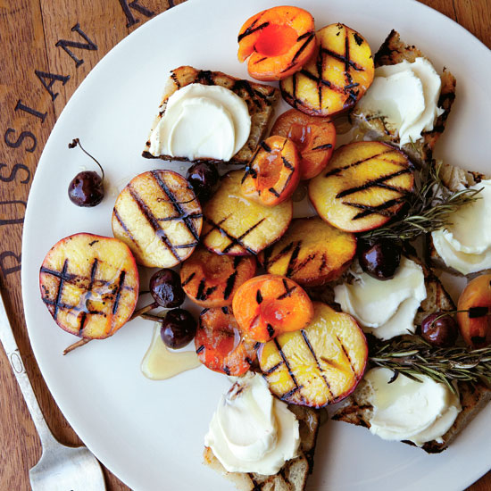 Grilled-Fruit Bruschetta with Honey Mascarpone