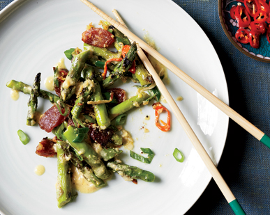 Singaporean Sautéed Asparagus with Ginger