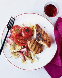 Tuscan Chicken with Grilled Fennel and Onions