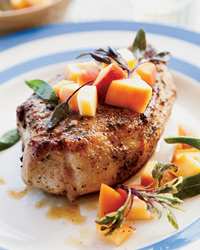 Sage-Rubbed Pork Chops with Pickled Peach Relish