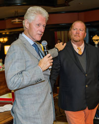 President Bill Clinton Accepts the Golden Pie Service Award from Mario Batali.