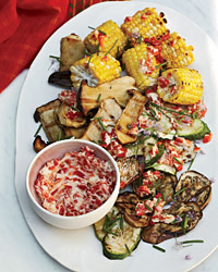 Grilled Vegetables with Roasted Chile Butter