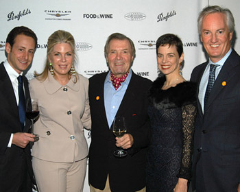 Maximilian Riedel, F&W publisher Julie McGowan, chef <a href='/chefs/?chefid=64FD7A40-7E83-4B32-B398380F5F7C4326'>Jacques Pepin</a>, Dana Cowin and Ed Kelly (president and CEO of American Express Publishing).