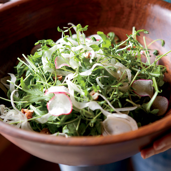Pea Shoot and Arugula Salad with Radishes and Hazelnuts
