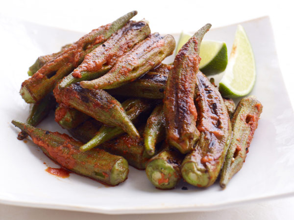 Grilled Okra with Red Curry-Lime Dressing // © Con Poulos