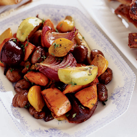 Root Vegetable Pan Roast with Chestnuts and Apples