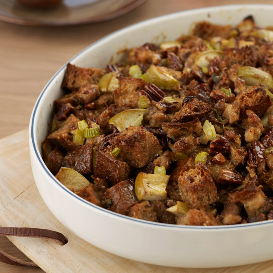 Whole Grain Stuffing with Apples, Sausage and Pecans
