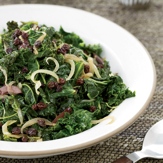 Kale with Currants, Lemon and Olives
