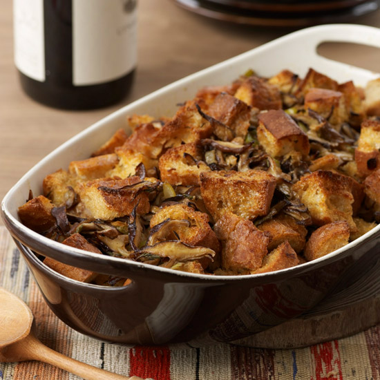 Shiitake Mushroom and Fresh Herb Stuffing for Thanksgiving