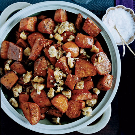 Five-Spice Glazed Sweet Potatoes with Walnut Toffee