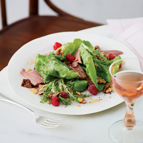 Smoked-Duck Salad with Walnuts and Raspberries