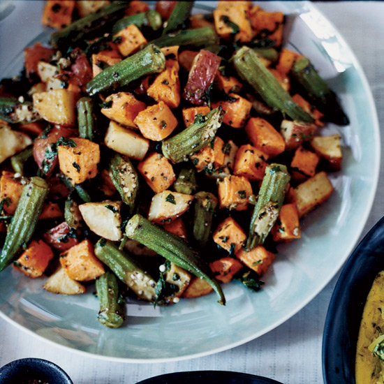 Roasted Sweet Potato and Okra Salad