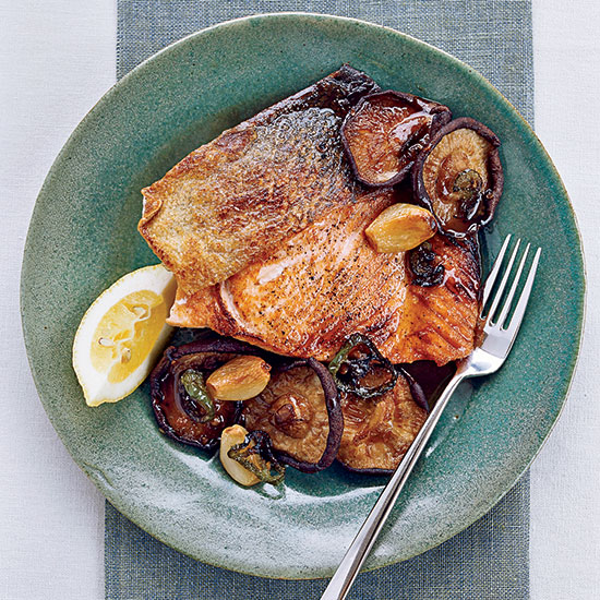 Salmon with Roasted Shiitakes and Mushroom Sauce