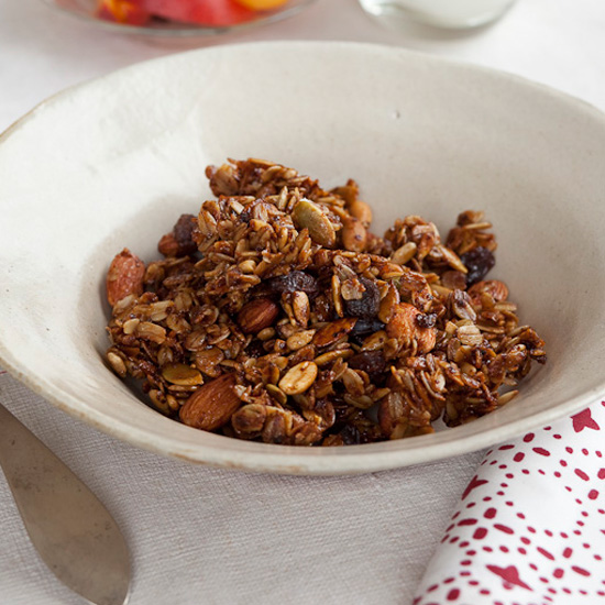 When making granola at home, toast it to maximize its nutty flavor. // © Zubin Schroff