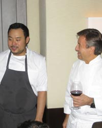 Dave Chang and Daniel Boulud at their fundraising event to support Hurricane Sandy relief.