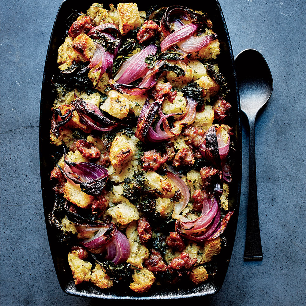 Sourdough Stuffing with Sausage, Red Onion and Kale