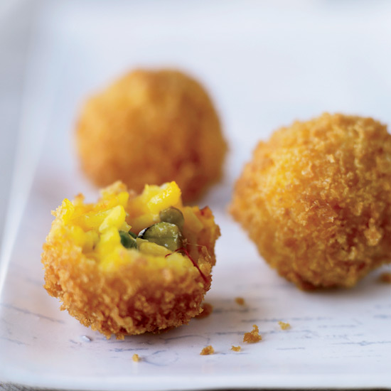 Toasted Pistachio–Cheese Arancini