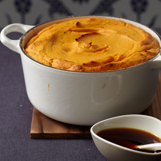 Sweet Potato Soufflé with Molasses Sauce