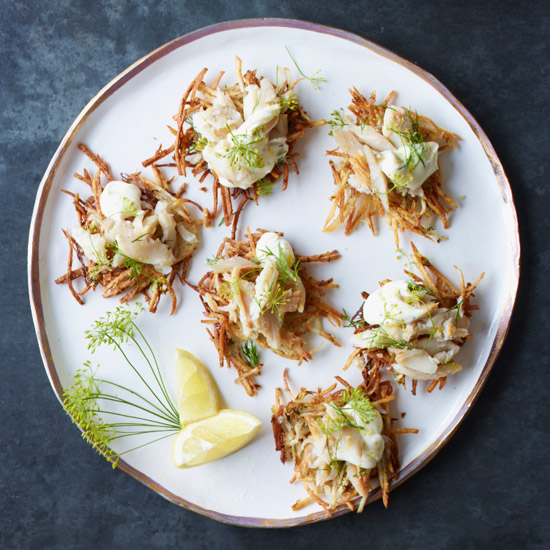 Crispy Potato-and-Sauerkraut Cakes with Smoked Trout