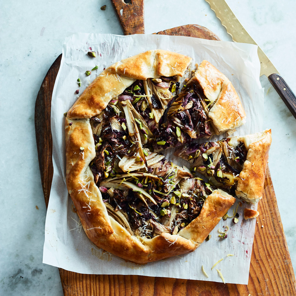 savory galette with radicchio and endive recipe ellen