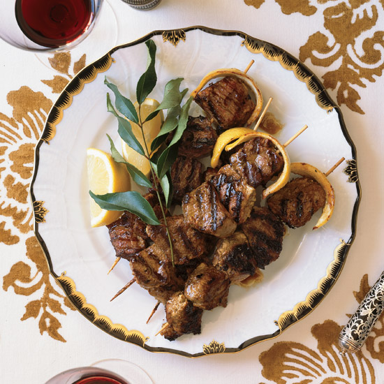 Yogurt-Marinated Lamb Kebabs With Lemon Butter