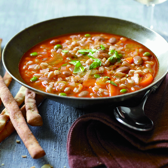 Meatless Mixed Vegetable and Farro Soup for Lent