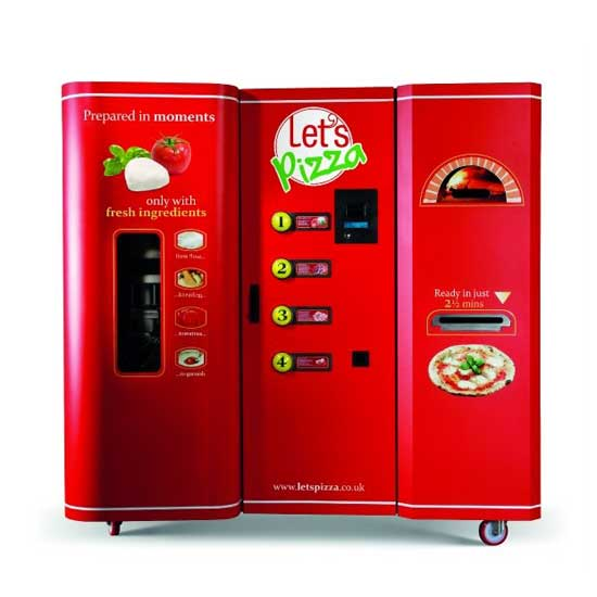The UK-based chain Let's Pizza's has created what it claims to be the world's first pizza vending machine.