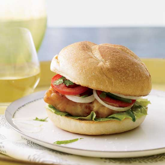 Fried-Fish Sandwiches with Jalapeño-Spiked Tomatoes