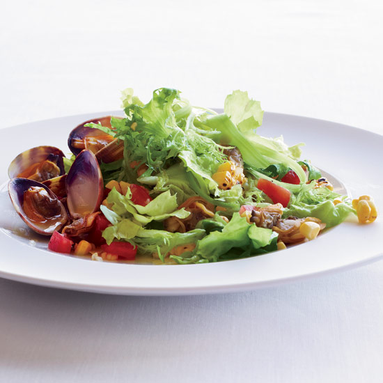 Escarole Salad with Clams and Grilled Corn