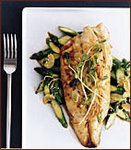Broiled Striped Bass with Ginger-Scallion Oil
