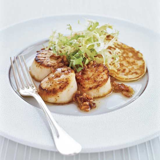 Seared Scallops and Corn Cakes with Bacon Vinaigrette