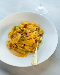 Tagliatelle with Fennel in White Wine-Pumpkin Sauce
