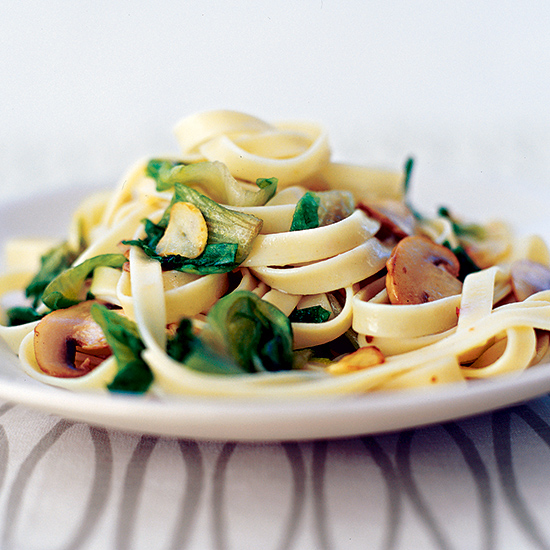Fettuccine with Wilted Escarole and Mushrooms