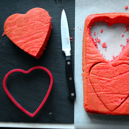 Cutting Out Heart-Shaped Cakes