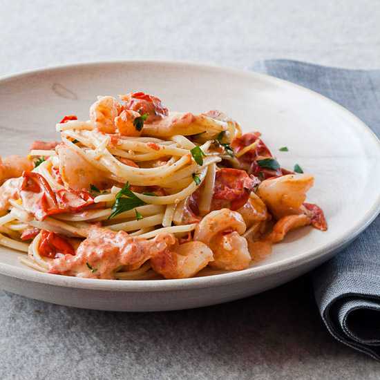 Linguine with Shrimp and Creamy Roasted Tomatoes