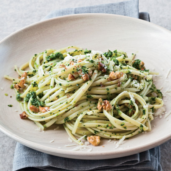 Linguine with Broccoli Rabe–Walnut Pesto