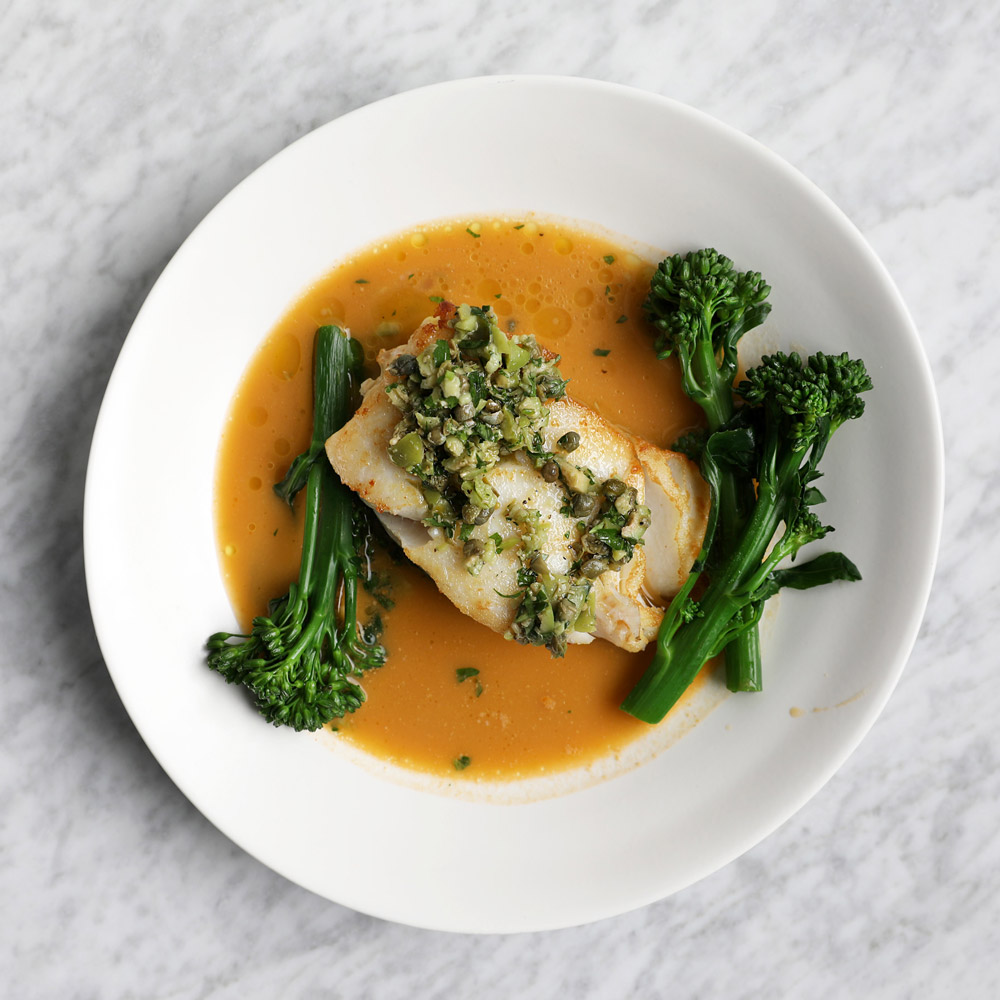 Baked Cod Fillet with Bouillabaisse Sauce and Green Olive Tapenade