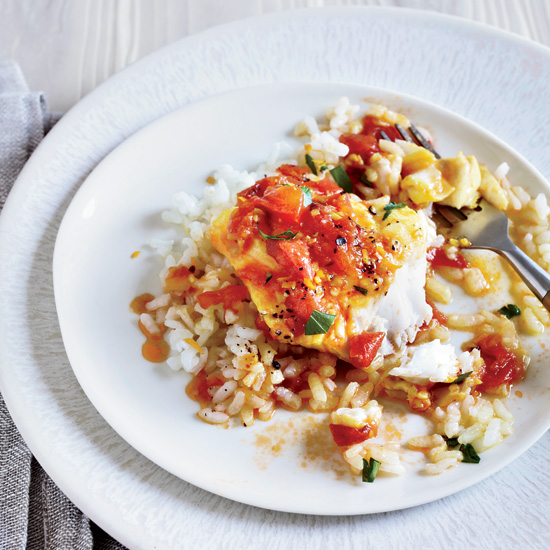 Cod with Fresh Tomato Sauce and Arborio Rice