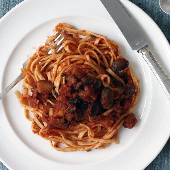 Linguine with Mom's Eggplant-and-Mushroom Sauce