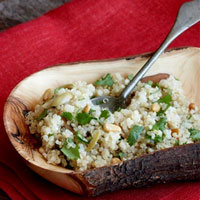 Lemony Quinoa Salad with Pine Nuts and Olives