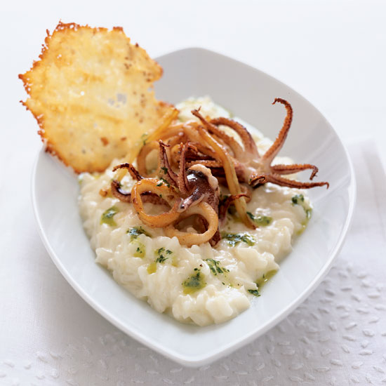 Garlic Risotto with Calamari and Parmesan Crisps