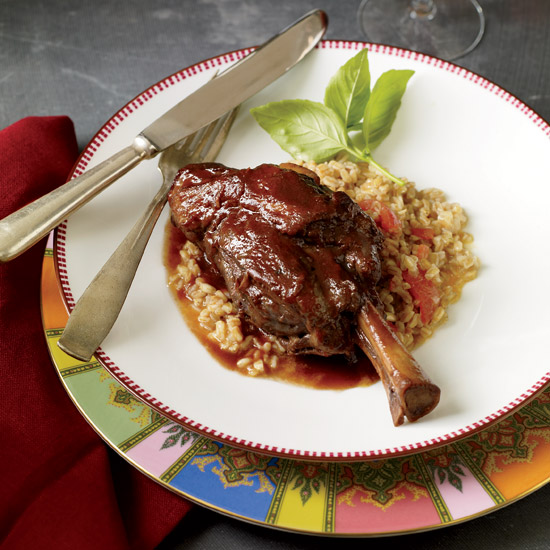 Braised Lamb Shanks with Garlic and Indian Spices