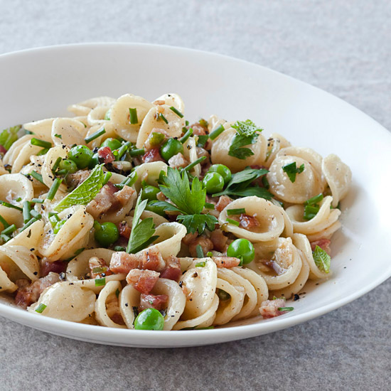 Orecchiette with Pancetta, Peas and Fresh Herbs