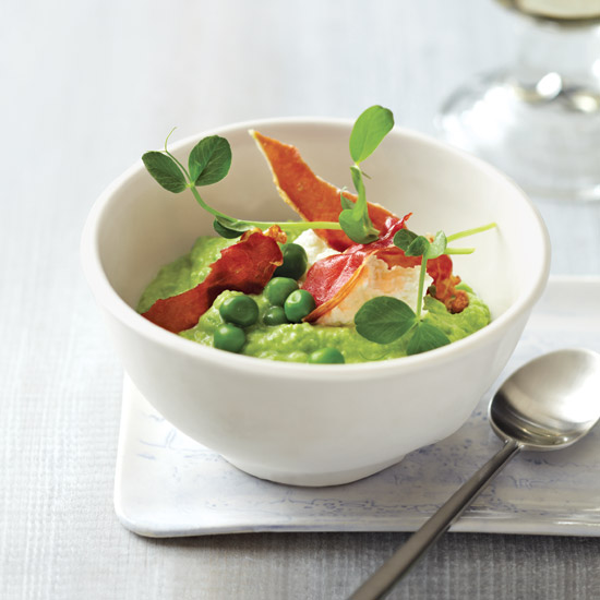 Pea Porridge with Fresh Cheese and Ham