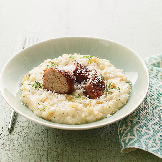 Fennel Risotto with Crispy Lamb Sausage
