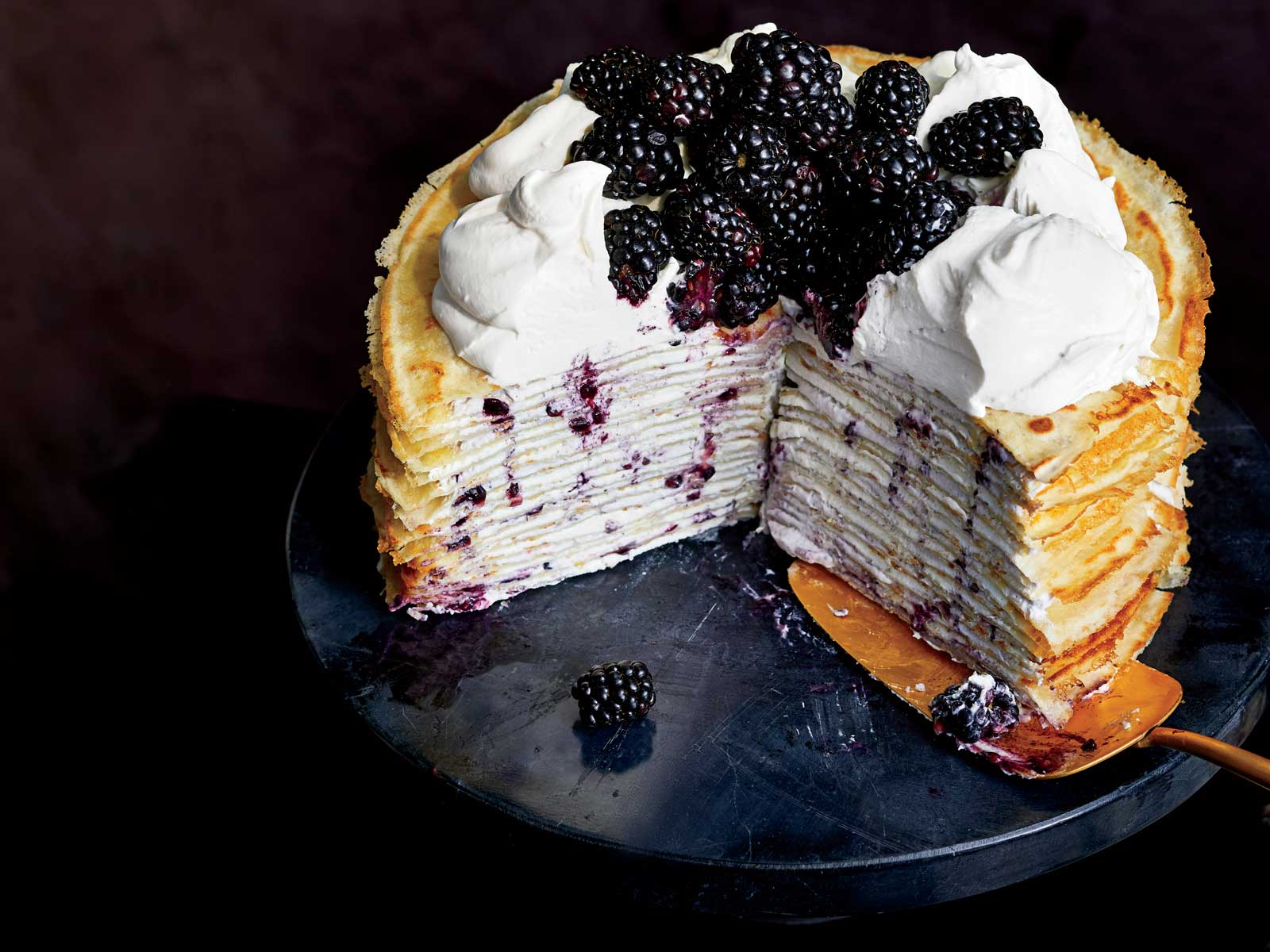 Blackberry and Mascarpone Crepe Cake