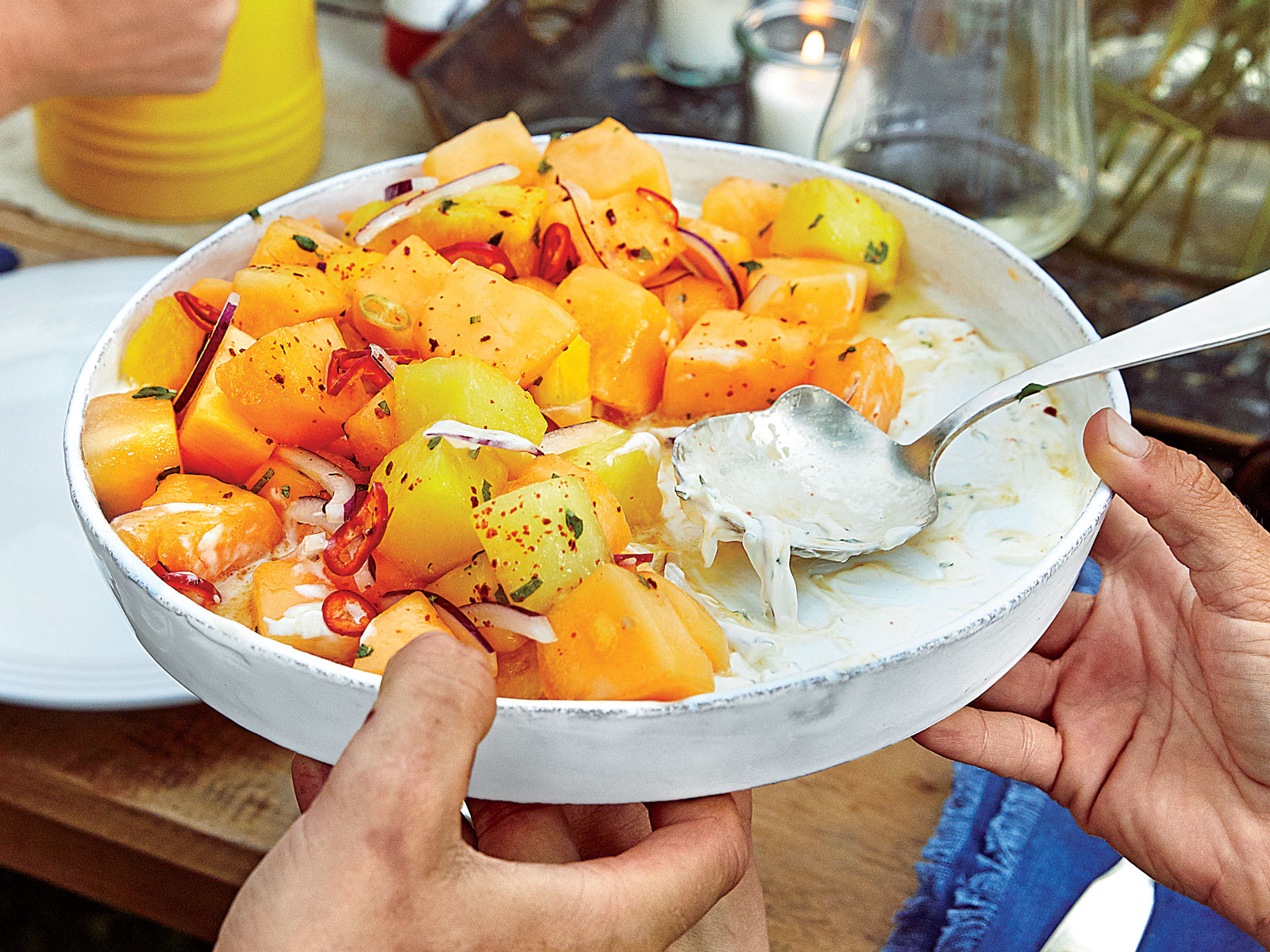 Golden Melon Salad with Lemony Yogurt and Chiles